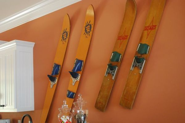 Lake skis on wall