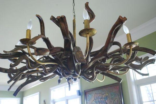 Lake driftwood chandelier