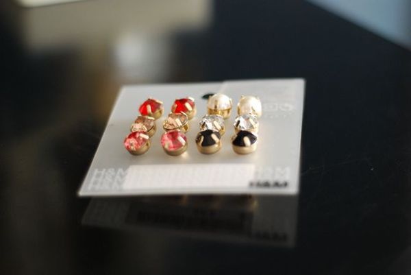 Colored stud earrings H&M