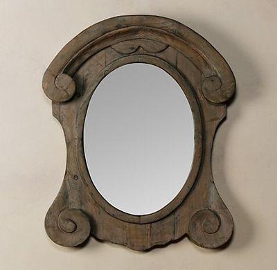 RH mansard scroll mirror