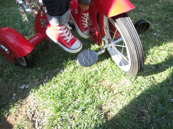 Red shoes red trike