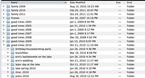 Hard drive folders screenshot