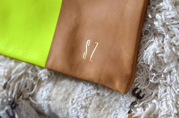 Clare vivier monogrammed clutch | hollywood housewife