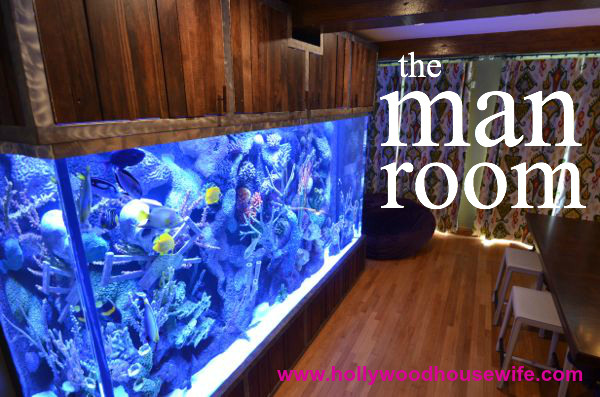 Man room with fish tank