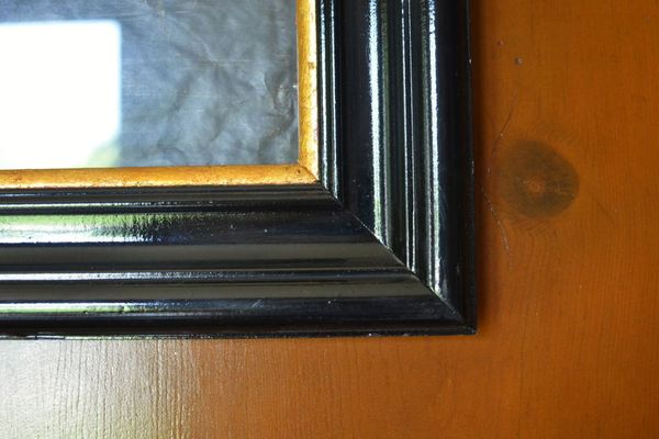Custom framing black laquer frame with charcoal