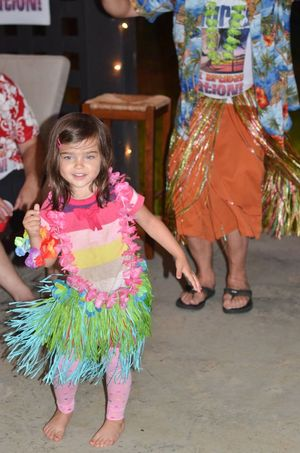 Birthday luau pigtail dancing