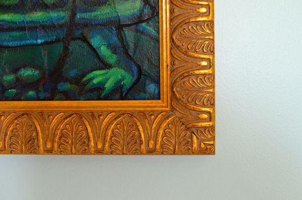 Custom framing for canvas painting gold