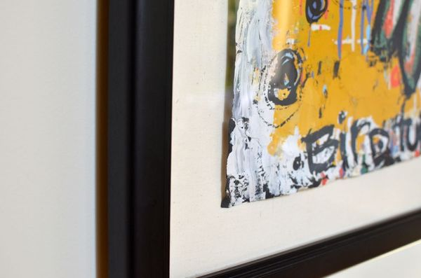 Custom framing painting on paper mounted