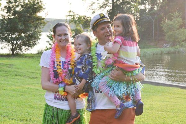 Birthday luau family