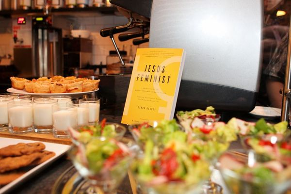 Jesus feminist party book and food