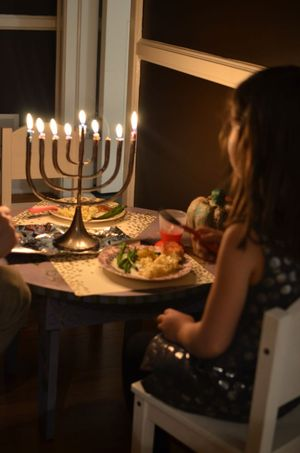 Christmas eve kid table menorah