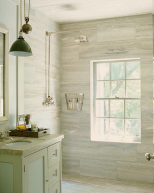 Steven Gambrel travertine bathroom