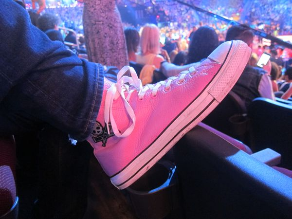 Pink leather high top converse