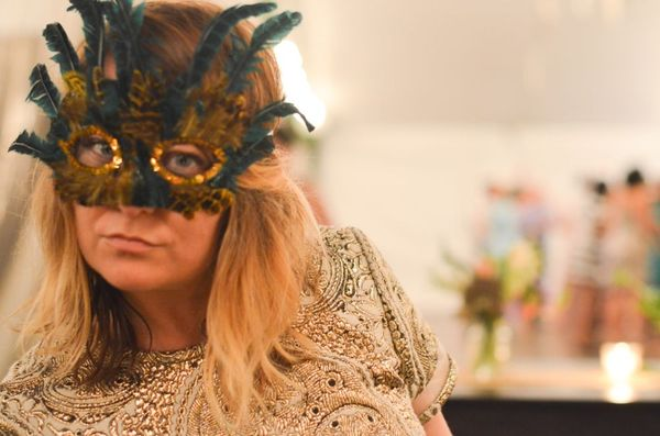 New Orleans wedding feather mask