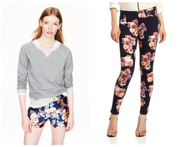 Floral shorts and jeans