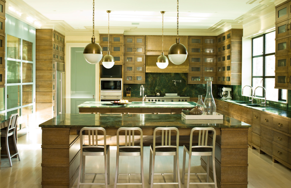 Steven Gambrel gold and wood kitchen