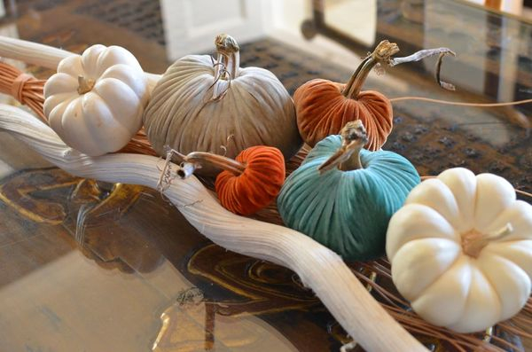 Velvet pumpkins from lovefeast table