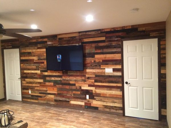 Reclaimed wood wall with TV mount