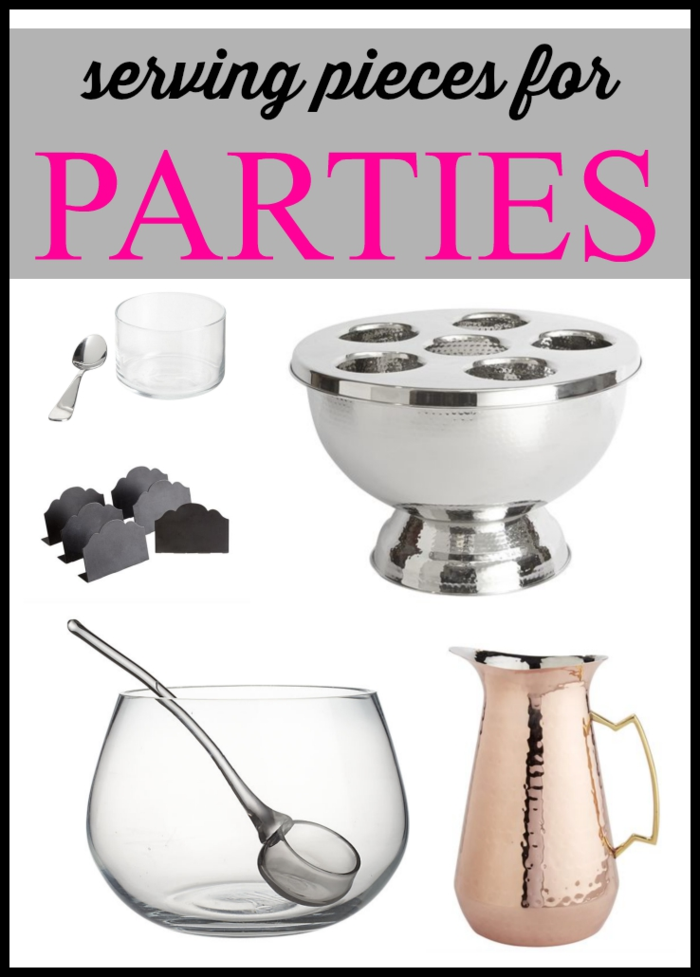Serving pieces for parties. A list of supplies for displaying your party food in the best way.