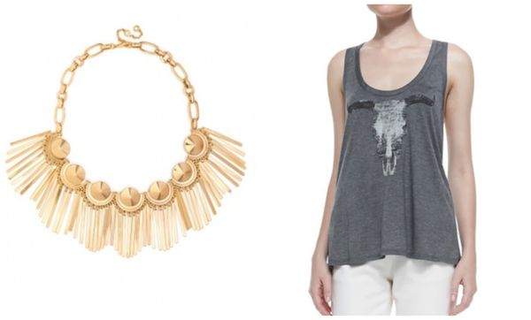 Statement necklace with longhorn tank top